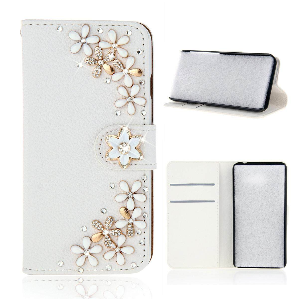 For Wiko Sunny 2 3D Bling Diamond Rhinestones PU Leather Wallet Case Flip Stand Card Slots Cover with Magnetic Closure - intl