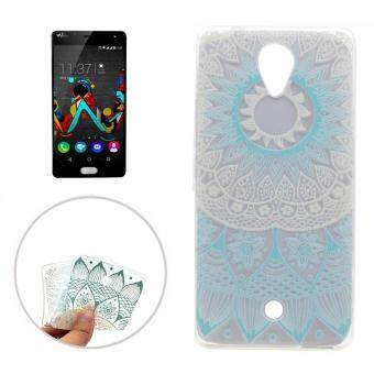 For Wiko U Feel Blue Flower Pattern Transparent Soft TPU Protective Back Cover Case