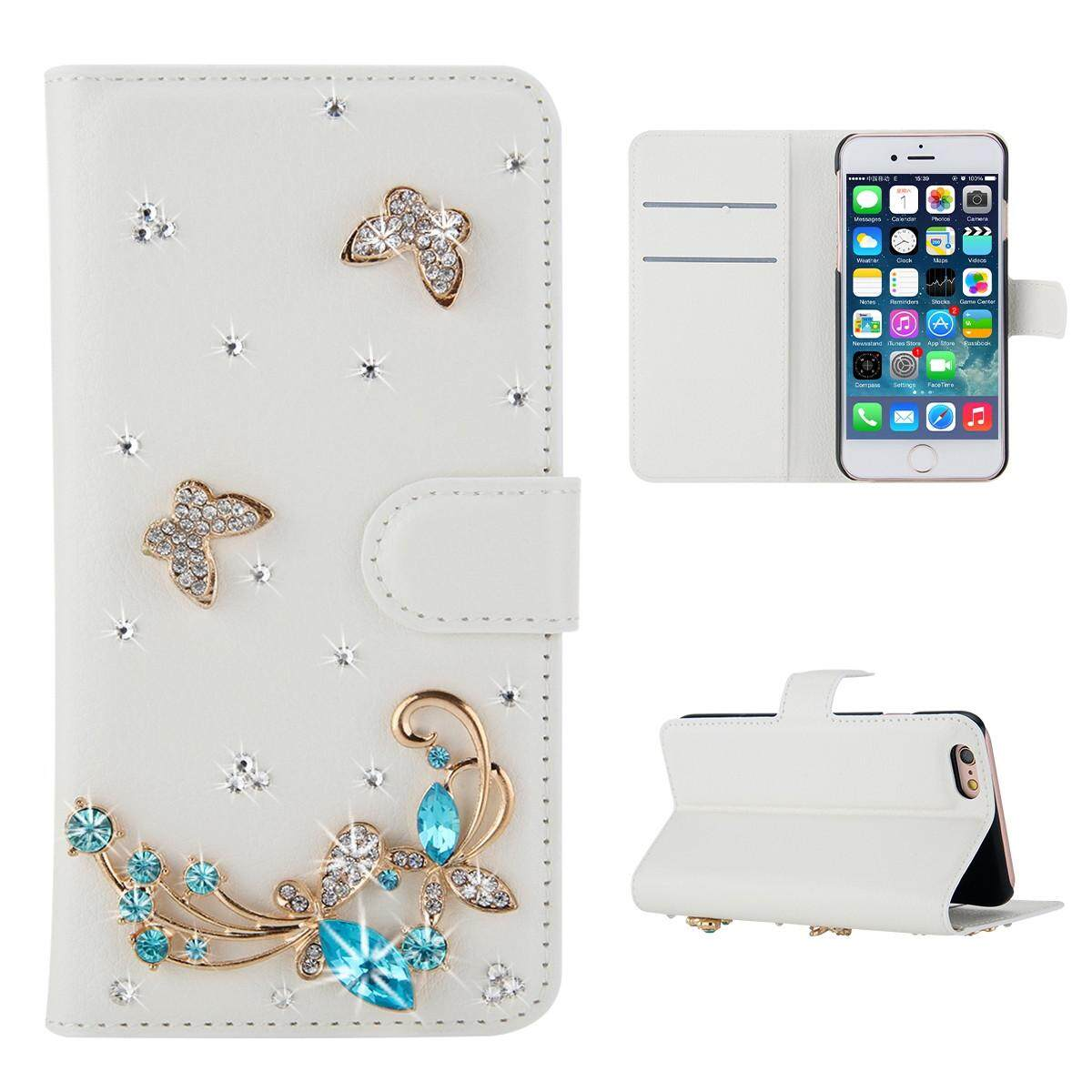 For Wiko View 3D Bling Diamond Rhinestones PU Leather Wallet Case Flip Stand Card Slots Cover with Magnetic Closure - intl