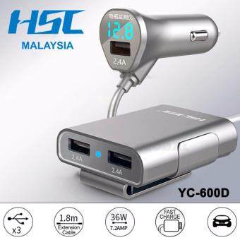 Harga Front & Back Car Charger HSC YC-600D with Battery VoltageMonitor
