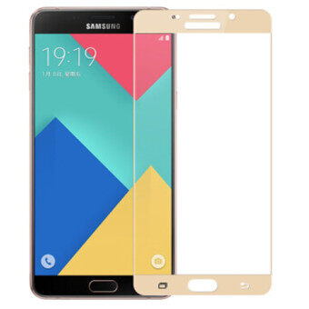 Harga Full Covered Curved Tempered Glass Screen Protector for SamsungGalaxy A9 A9000 / A9 Pro A9100 (Gold)