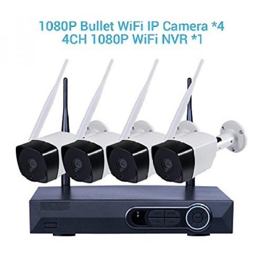 Penuh HD 1080 P 4CH NVR Kits Jaringan Nirkabel Rumah Keamanan Kamera Sistem Perekam Video 4 Pcs 2.0 Juta Piksel Dalam luar Ruangan Wifi Peluru IP Pengawasan Kamera 90ft Malam Vision Anti-Air Otomatis Pasang-Internasional