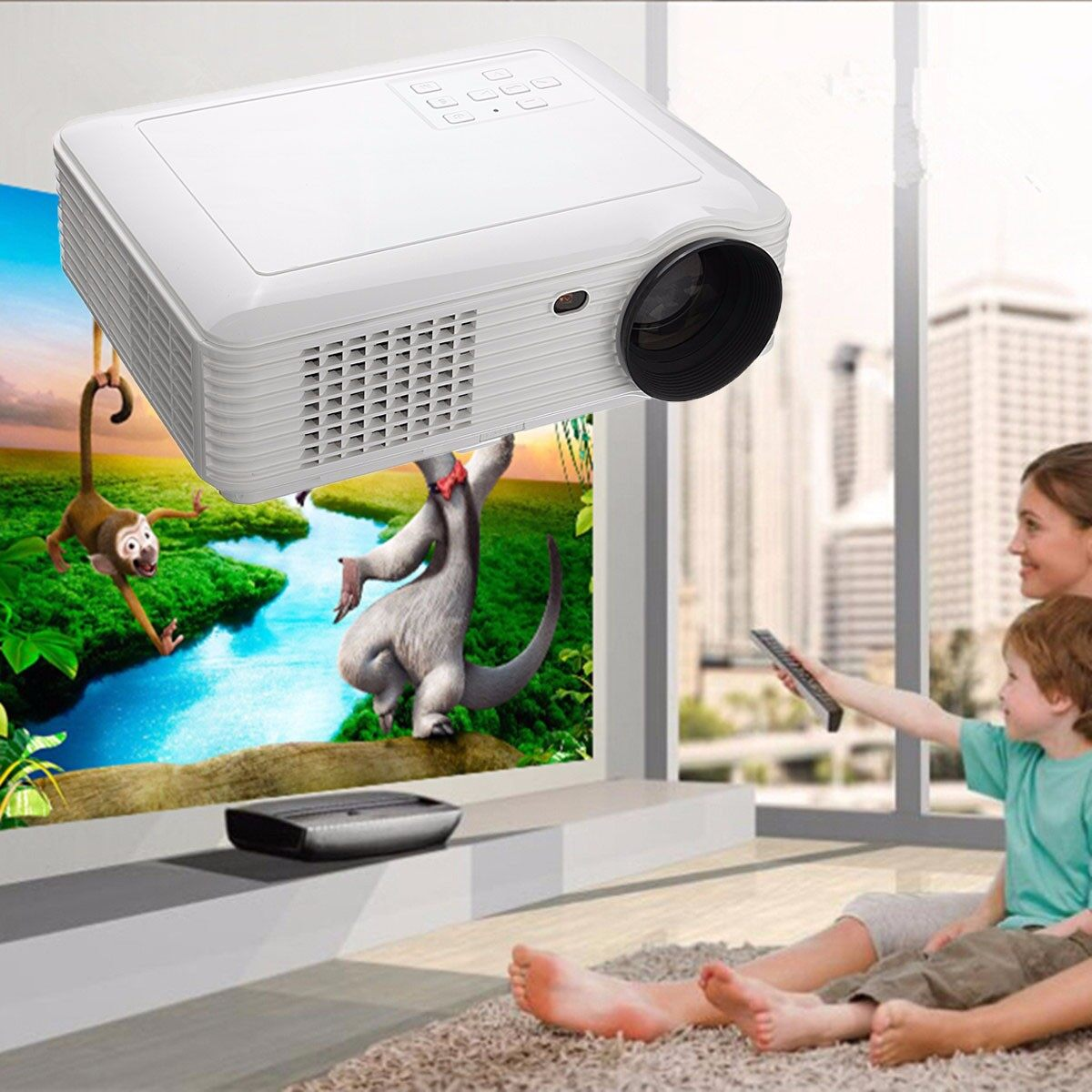 Full HD 1080P 5000 Lumens 3D LED Projector Home Cinema Theater Multimedia HDMI - intl