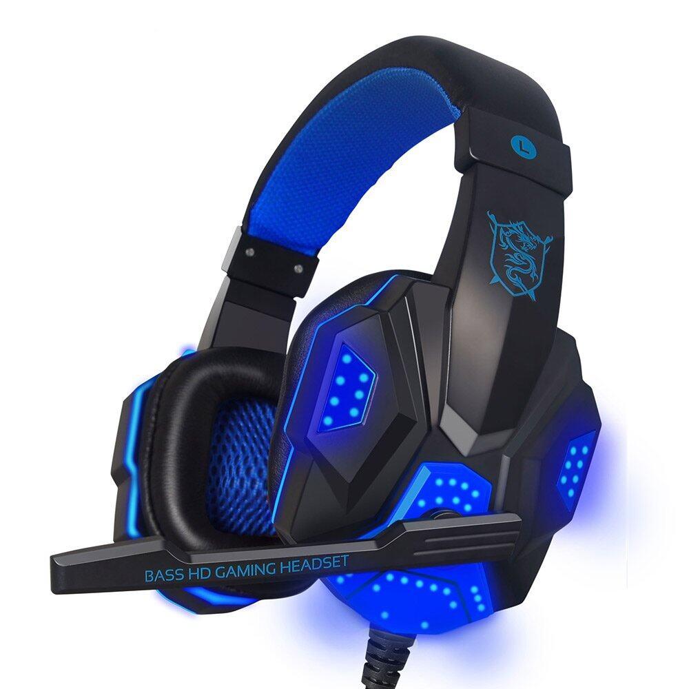 Game Headset Lebih-Telinga Permainan Headphone Earphone Ikat Kepala dengan Mikrofon USB LED Ringan untuk Buah Gamer-Internasional