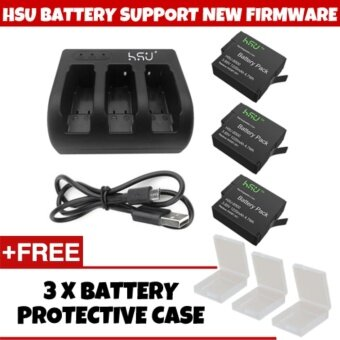Harga (GENUINE) HSU SUPPORT NEW FIRMWARE V02.51 HSU GoPro Accessory 3Pack 3.85 V GoPro Hero 5 Battery with 3 Slot Charger Kit