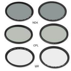 52MM Professional CPL + ND4 + UV Camera Lens Filter Photography Lens Kit black - intl