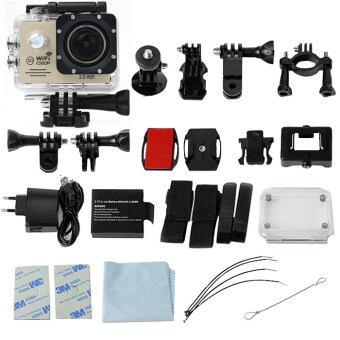 GOQ SJ7000 Action Sports Camera 2-inch LCD WiFi Cam Camcorder Full HD 1080P With Accessories (Gold)