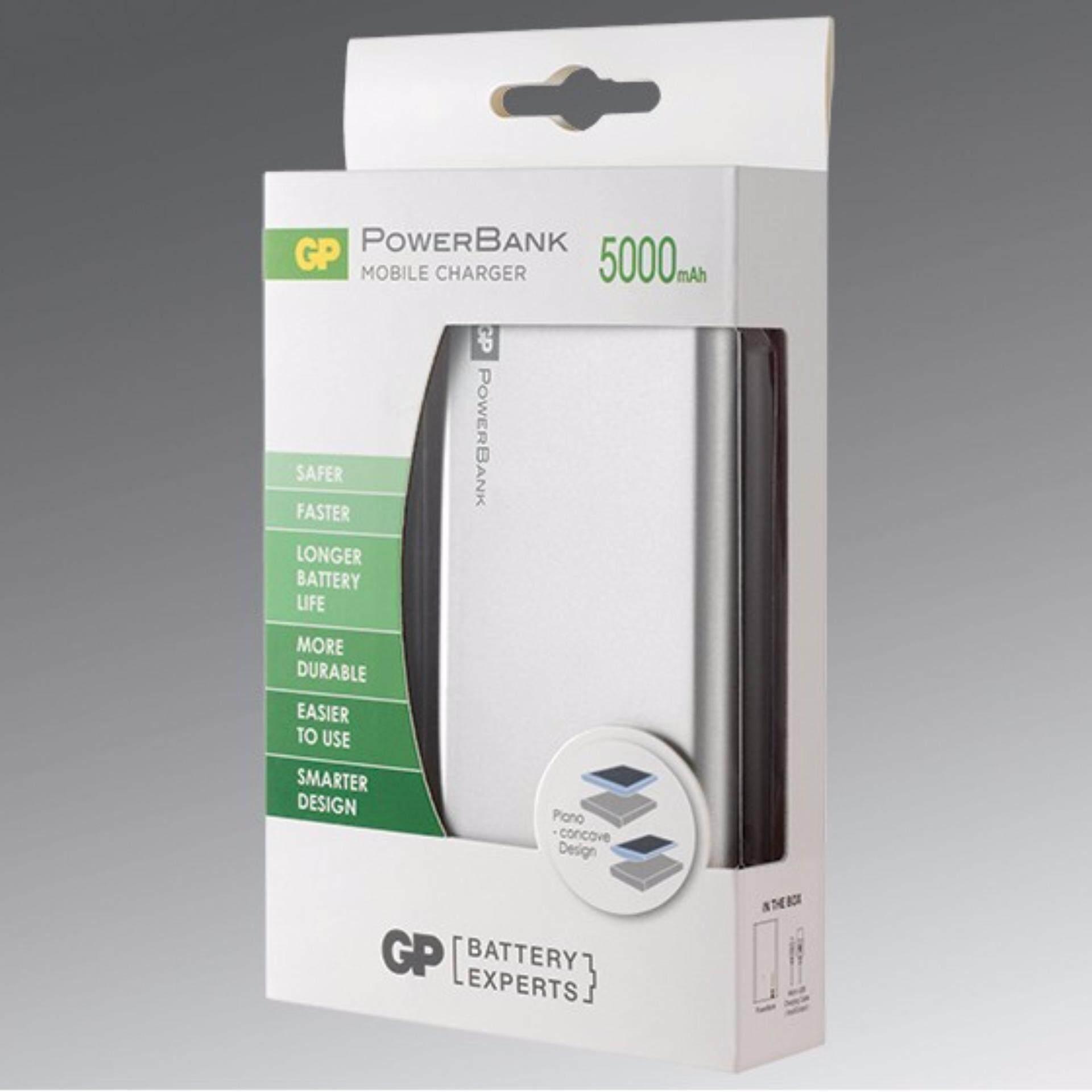 GP Batteries Portable Power Bank Fast Series FP05M 5,000mAh (Silver)