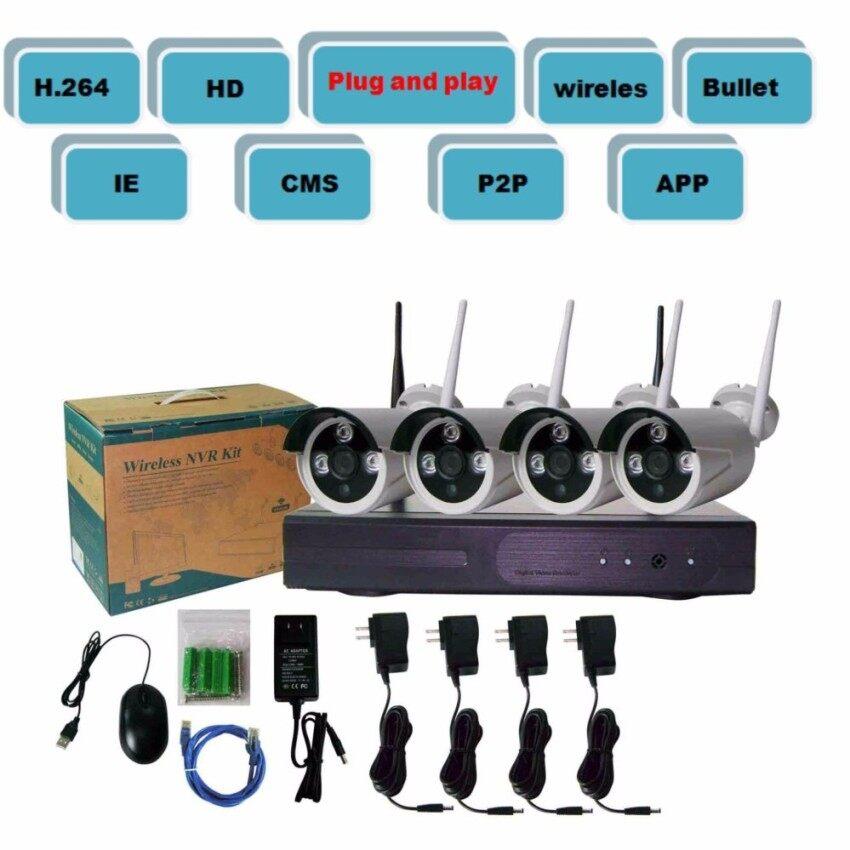 H.264 960 P 4-Channel WIFI Jaringan Kamera dan NVR Perlengkapan (1 HDD) pasang dan Mainkan IPC + NVR + Daya Adaptor + Telepon APP Jarak Jauh Tampilan + HD Video-Internasional