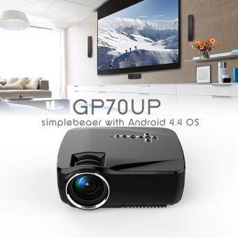 Harga HD GP70UP Android 4.4 Mini LED Projector with Google Play Updatedby GP70 1G/8G Bluetooth WiFi TV Beamer (Black)