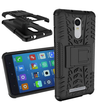 Heavy Duty Rugged Hybrid Dual Layer Kickstand Shockproof CaseProtective Cover Case for Xiaomi Redmi Note 3 / Red Mi Note 3 ProCase (Black)