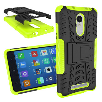 Heavy Duty Rugged Hybrid Dual Layer Kickstand Shockproof CaseProtective Cover Case for Xiaomi Redmi Note 3 / Red Mi Note 3 ProCase (Green)