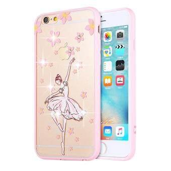 Hi Case Lucu Berwarna Merah Muda Lembut TPU Case dengan Glitter Bling untuk iPhone 6 Plus