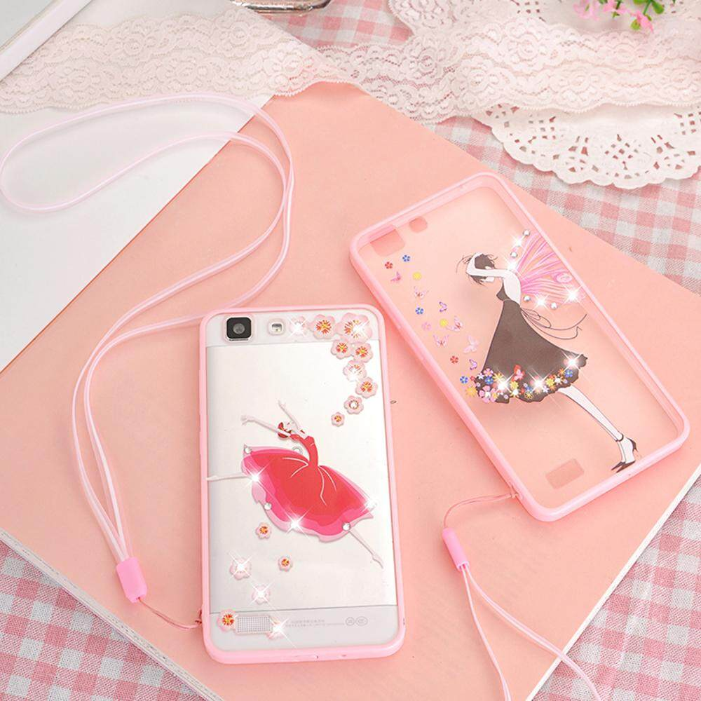 Hicase Cute Pink Soft TPU Case With Glitter Bling For VIVO Y35 Black .