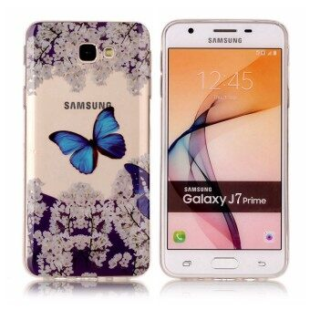 High Quality Blue Butterfly Flower TPU Soft Gasbag Back Case Cover For Samsung GALAXY J7 Prime