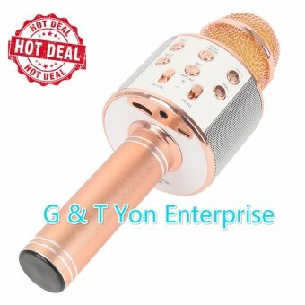 Harga High Quality Ws858 Bluetooth Handheled KTV Karaoke Microphone Q9 Q7 JY-50 can use samsung apple + Free Gift