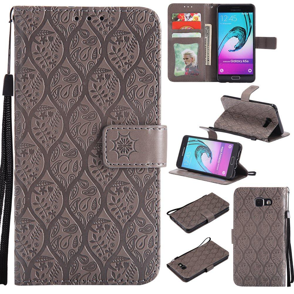 Hot High Quality Gray 3D Relief Flower Leather Flip Case For Samsung Galaxy A5 2016 A510