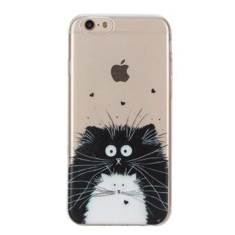 Hot Upscale Black and white cat TPU Soft Gasbag Back Case Cover For iPhone 6 6S