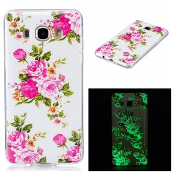 Hot Upscale Rose flower Noctilucent TPU Soft Gasbag Back Case Cover For Samsung Galaxy J5(