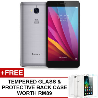 Huawei Honor 5X 16GB (Grey) Ori Msia Set + Free Tempered Glass & Protective Back Case