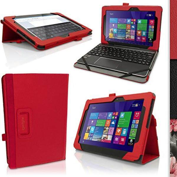 igadgitz iGadgitz Premium Red PU Leather Folio Case Cover for Asus Transformer Book 10.1 T100 CHI FG007B with Multi-Angle Viewing Stand + Auto Sleep/Wake + Screen Protector - intl