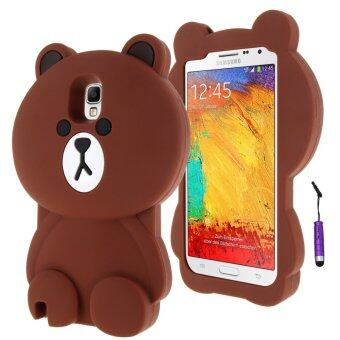 Harga Moonmini 3D Lovely Bear Soft Silicone Back Case for Samsung Galaxy Note 3 N9000 (Brown)