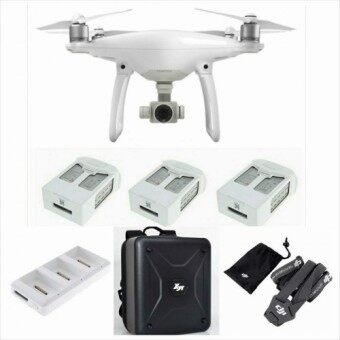 Harga DJI Phantom 4 Quadcopter Drone + 2 Extra Battery, DJI Remote Control Strap, Backpack, Charging HUB Bundle