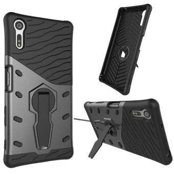 Harga Heavy Duty Shockproof Dual Layer Hybrid Armor Defender Full Body Protective Cover with 360 Degree Rotating Kickstand Case for Sony Xperia XZ