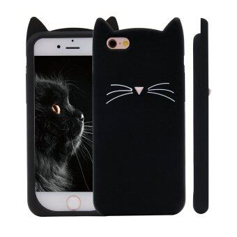 Harga 3D Black MEOW Party Cat Whiskers Soft Silicone Case for iPhone 6/6S