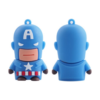 Harga High Speed Toys Cartoon USB Flash Drives USB 2.0 Pendrives 8GB Memory Stick Card Creative Gift (the hero American cap) - intl