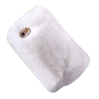Harga Luxury Furry Rabbit Fur Bling Crystal Rhinestone Case for iPhone 6/6s Plus (White)