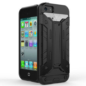 Harga GuluGuru for Apple iPhone 5 5S SE Case [X-Armour Card Slot] PC+TPU Hybrid Back Cover with Kickstand Holder + Card Storage Slot Armor Cell Phone Case