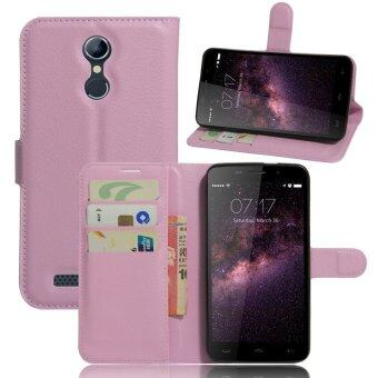 Harga PU Leather Wallet Cover For Homtom HT17 (Pink)