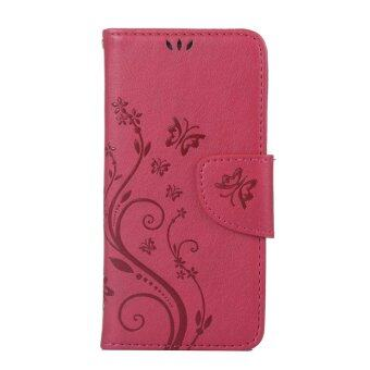 Harga Moonmini Flower Pattern PU Leather Wallet Card Slots Flip Stand Case Cover for Lenovo S850 (Red)