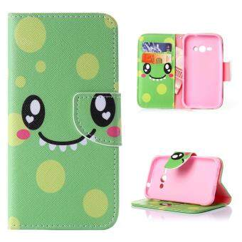 Harga Moonmini Case for Samsung Galaxy J1 Ace Leather Case Flip Stand Cover - Smile Face