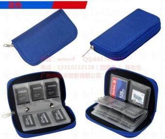 Harga Memory Card Storage Carrying Pouch Case Holder Wallet For CF/SD/SDHC/MS/DS-Blue