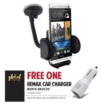 Harga [FREE REMAX] GLOBALTREND Car Holder Mount Long Arm 360 Degree Adjust FREE REMAX 2.1 Dual USB In Car Charger