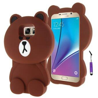 Harga Moonmini 3D Lovely Bear Soft Silicone Back Case for Samsung Galaxy Note 5 (Brown)