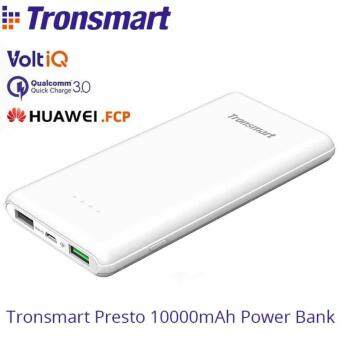 Harga Tronsmart Presto 10000mAh Ultra Slim External Battery Power Bank QC3.0 With Huawei FCP Fast Charging Technology for iPhone 7/7 Plus Galaxy S8 S8+ and More (White)
