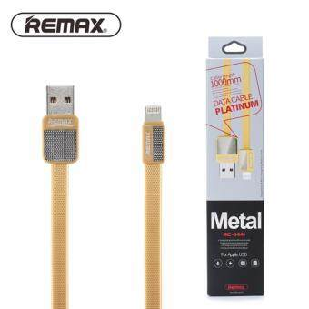 Harga Remax Metal Series RC044i Lightning 2.1A Fast Charge Cable For Apple iPhone/iPad - 100% Original REMAX Cable - Gold