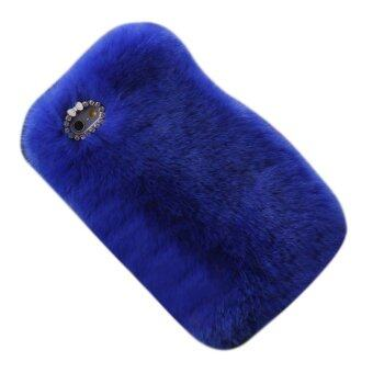 Harga Luxury Furry Rabbit Fur Bling Crystal Rhinestone Case Cover For Iphone 6/ 6S Royal Blue