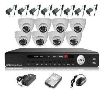 Harga CCTV 8-CH A-HD DVR Recorder with Infra Red Dome Camera System For Home & Business Package (White)
