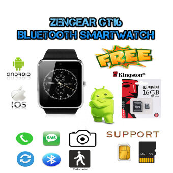 Harga (Free 16GB memory card) ZenGear iWatch GT16 2.0M Digital Bluetooth Smart Watch (Silver)