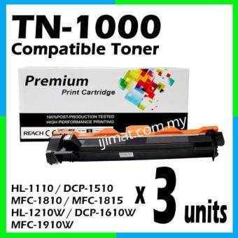 Harga 3 Units Brother TN1000 / TN-1000 High Quality Compatible Toner Cartridge For Brother HL-1110 / DCP-1510 / MFC-1810 / MFC-1815 / HL-1210W / DCP-1610W / MFC-1910W Printer