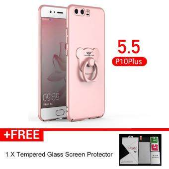 Harga New Phone Case with A Bear Ring Holder Tempered Glass Protector for Huawei P10 Plus