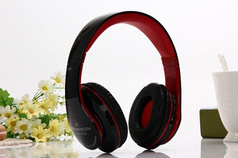 Harga AOSEN FASHION Head mounted foldable Bluetooth Headset Computer Stereo Music MP3 Mobile Phone Wireless Headphone Red