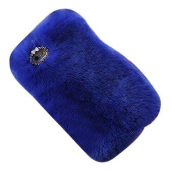 Harga Luxury Furry Rabbit Fur Bling Crystal Rhinestone Case Cover For Iphone 6/6s Plus Royal Blue