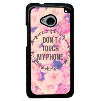 Harga Y&M Don't Touch My Phone Pink Rose Pattern Phone Case for HTC M7 (Black)