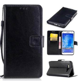 Harga Moonmini Case for Samsung Galaxy J7(2015) Leather Case Flip Wallet Stand Cover - Black