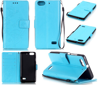 Harga Moonmini Butterfly Flower Leather Flip Stand Cover for Huawei Honor 4C (Sky Blue)